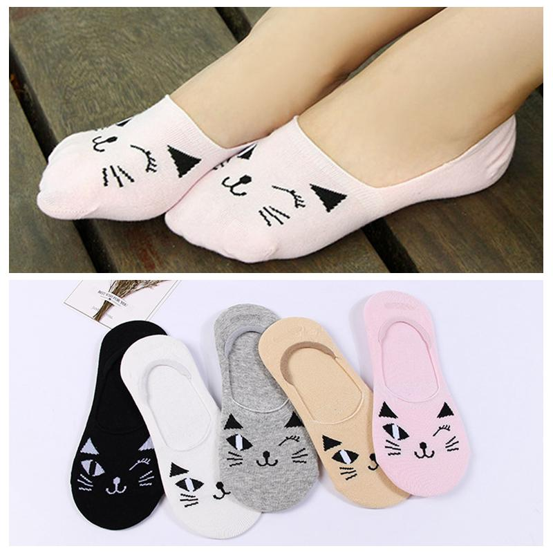 Women Girls Candy Color Cat Cartoon Boat Socks Girls Socks