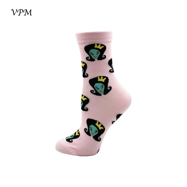 Cotton Women Crew Socks Cartoon Miss Universe Alien Cat Skull Elephant Chili Tooth Food Dog Pattern Funny Sock for Girl