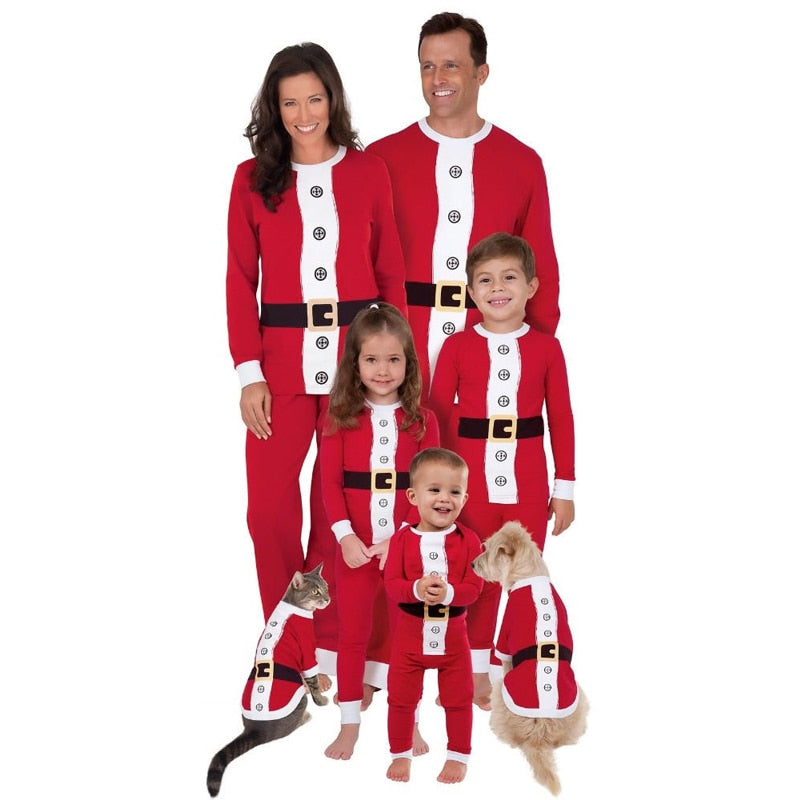 Christmas Family Pajamas Set Santa Adult Kids Women Sleepwear Nightwear