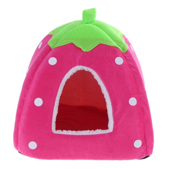 Foldable Cat Dog Kennel Warm Cushion Strawberry Shape Sponge Pet House Dog Nest