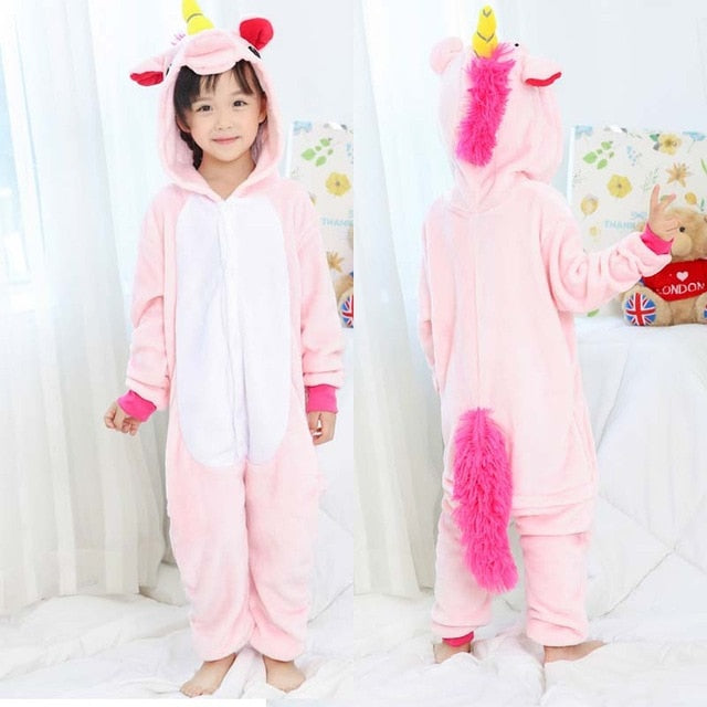 Flannel winter Pegasus christmas pajamas pink unicorn pajamas for girls cartoon animals Hooded sleepwear onesie Boy pyjamas kids