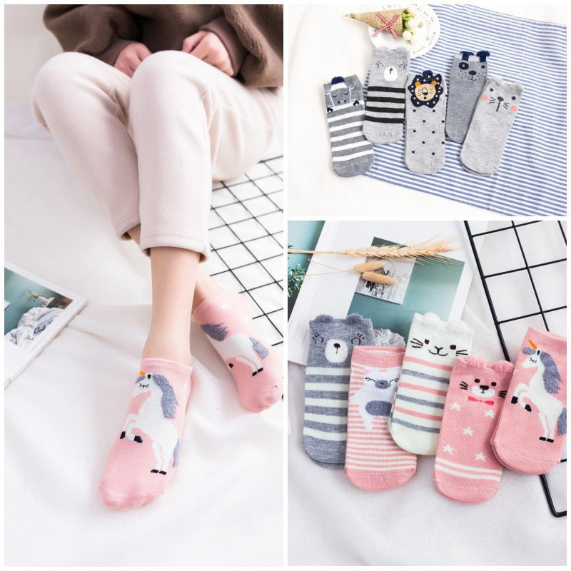 5 Pairs/Lot Cartoon Unicorn Cat Lion Women Socks Cute Animal Ear Cotton Short Socks Girls Funny Ankle Socks Sokken