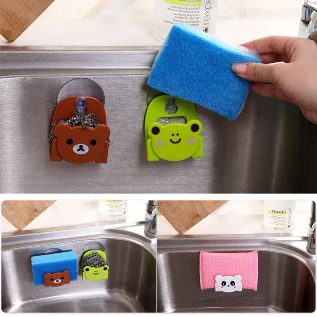 Kitchen Sink Sponge Dish Cloth Scrubbers Holder Cartoon With Strong Suction Cup