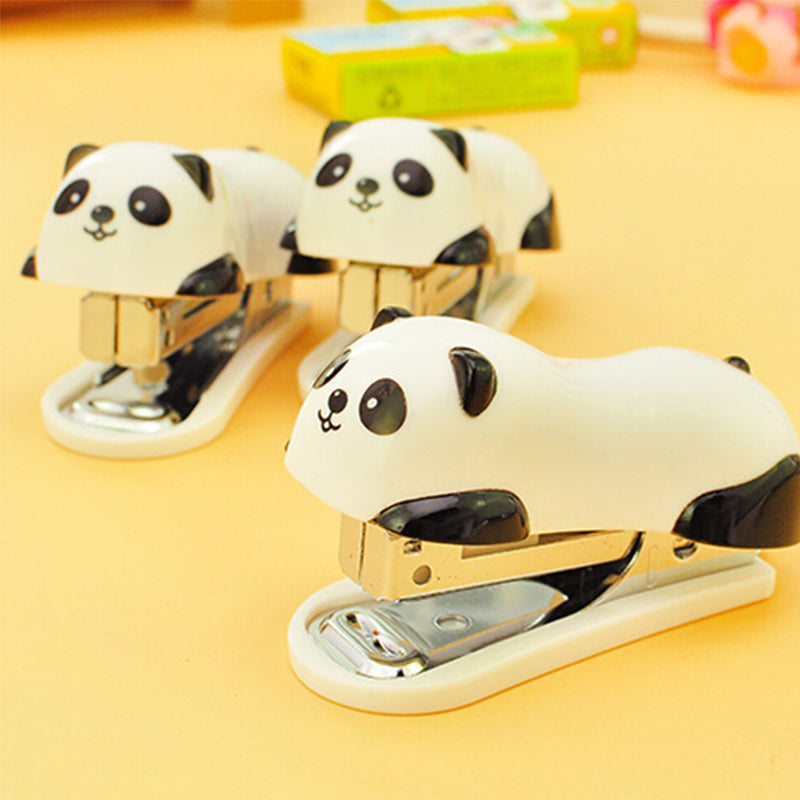 Mini Panda Stapler Set Cartoon Office School Supplies Staionery Paper Clip Binding Binder Book Sewer