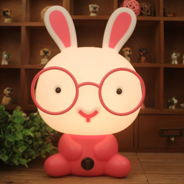 EU/US Plug Night Lovely Sleeping Lamp Baby Room Panda/Rabbit/Dog/Bear Cartoon Light Kids Bed Baby Room for Gifts CLH