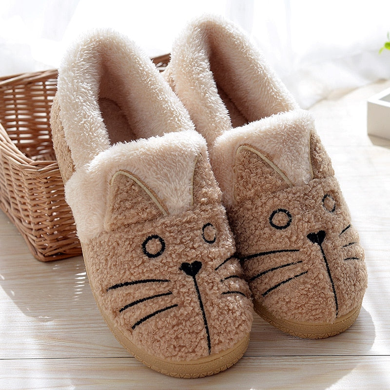 Cute fluffy cat slippers