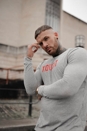 GREY LONG SLEEVE XQUIZIT T-SHIRT
