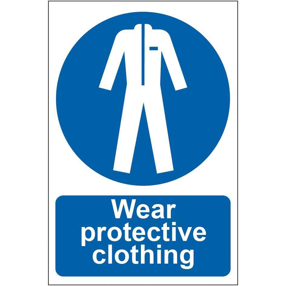 Wear protective clothing Sign, Self Adhesive Semi Rigid PVC (200 x 300mm)