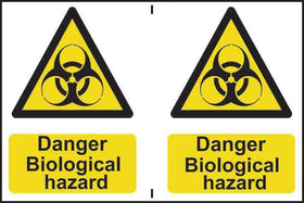 Danger Biological Hazard Sign, Self Adhesive Semi Rigid PVC, 2 per sheet (300 x 200mm)
