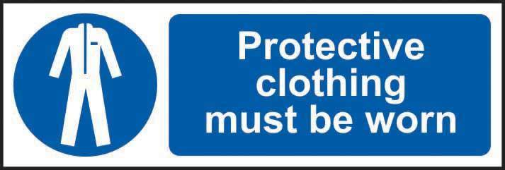 Protective clothing must be worn Sign, Self Adhesive Vinyl (600 x 200mm)