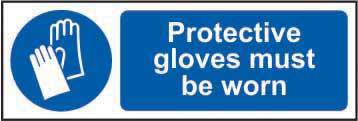 Protective gloves must be worn Sign, Self Adhesive Vinyl (600 x 200mm)