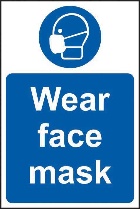 Wear face mask Sign, Self Adhesive Vinyl (400 x 600mm)