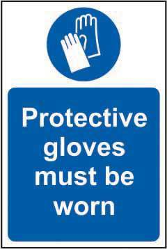 Protective gloves must be worn Sign, Self Adhesive Vinyl (400 x 600mm)