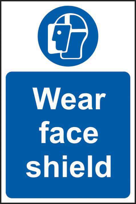 Wear face shield Sign, Self Adhesive Vinyl (200 x 300mm)