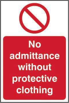No Admittance Without Protective Clothing Sign, Self Adhesive Vinyl (200mm x 300mm)