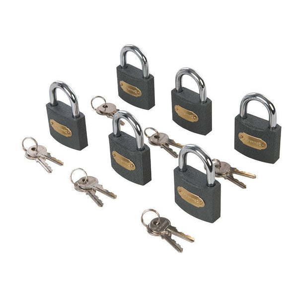 Iron Padlock Keyed Alike 6pk