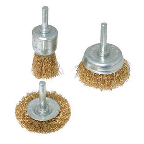 Brassed Steel Wire Wheel & Cup Brush Set 3pce