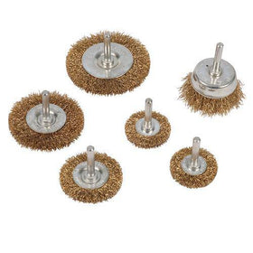 Brassed Steel Wire Wheel & Cup Brush Set 6pce