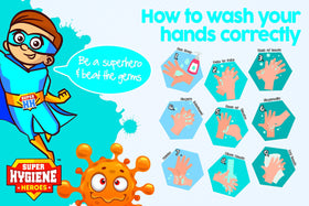 Super Hygiene Heroes How To Wash Hands Correctly Poster
