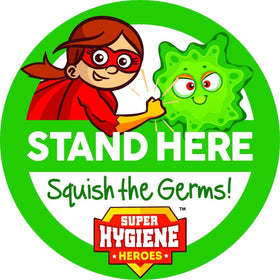 Super Hygiene Heroes Stand Here Self Adhesive Floor Graphic in Purple