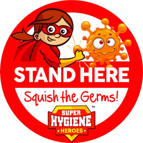 Super Hygiene Heroes Stand Here Self Adhesive Floor Graphic in Red