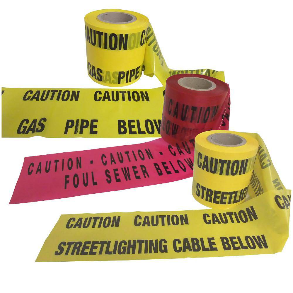 UNDERGROUND WARNING TAPE 'GAS' 'Street lighting Cable & 'Sewer',  150MM
