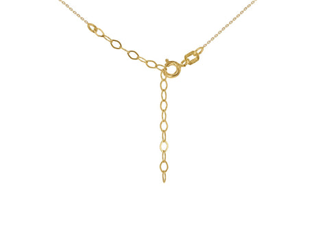 "9ct Yellow Gold CZ 6.7mm Slider Adjustable Necklace 41cm/16""-46cm/18"""