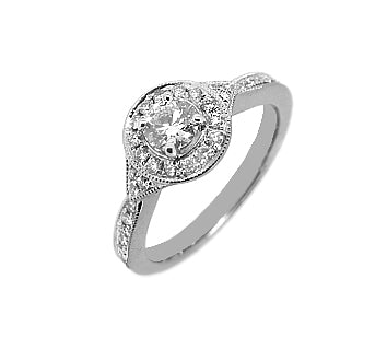 Engagement 18k White Gold Brilliant Cut Diamond Cluster Ring