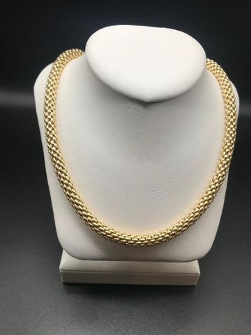 Gold Mesh Necklace With CZ Pendant