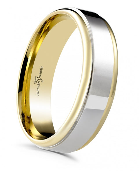 two tone yellow & white gold 5mm wedding band