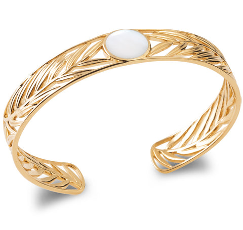 Gold Plated Leaf Designed Bangle burren jw