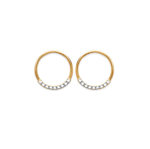 18k Gold Plated Stone Set Circle Earrings