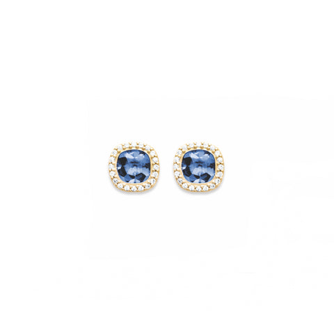 18k Gold Plated Sapphire Earrings