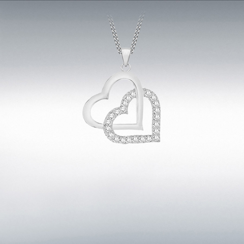 Sterling Silver  Double-Heart Pendant