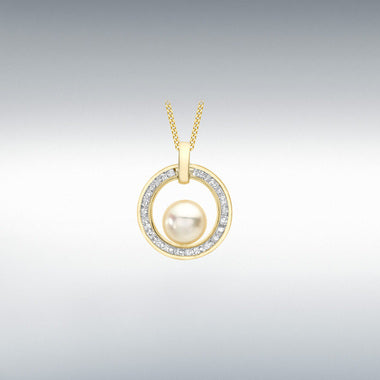 9ct Yellow Gold 1.5mm CZ 13.2mm x 16.5mm Cutout Circle and 6.1mm Pearl Pendant code1.66.0189