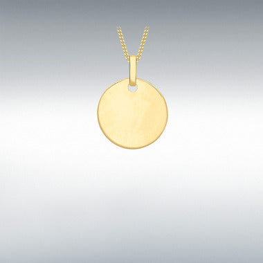 "9ct Gold Plain Circle Disc with 18"" chain"
