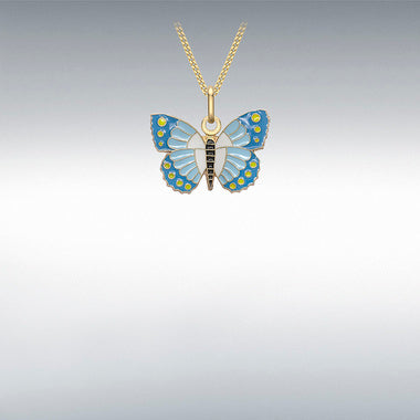 9ct Yellow Gold Blue White and Yellow Enamel Butterfly Pendant
