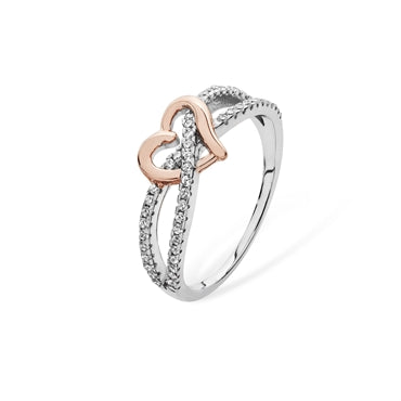 Silver cz interlink Ring with Rose Gold Heart
