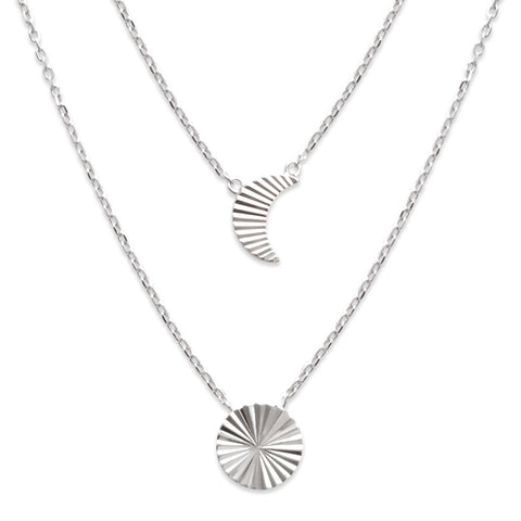 Moon Sun Double Necklet Silver