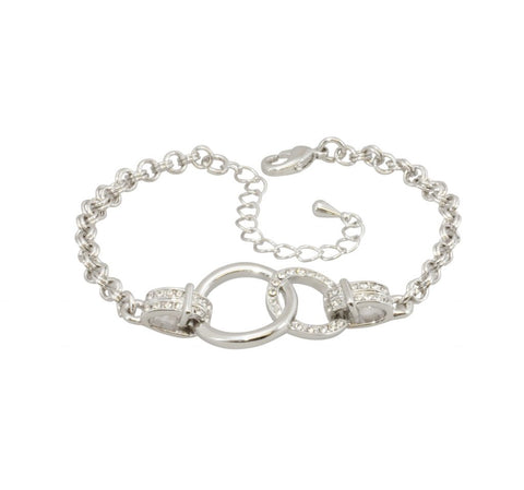 Silver double circle linked bracelet