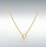 9ct Yellow Gold Oval Belcher T-bar Chain