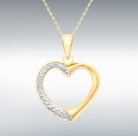 9ct  2-Colour Gold Patterned Heart Trace Chain Necklace