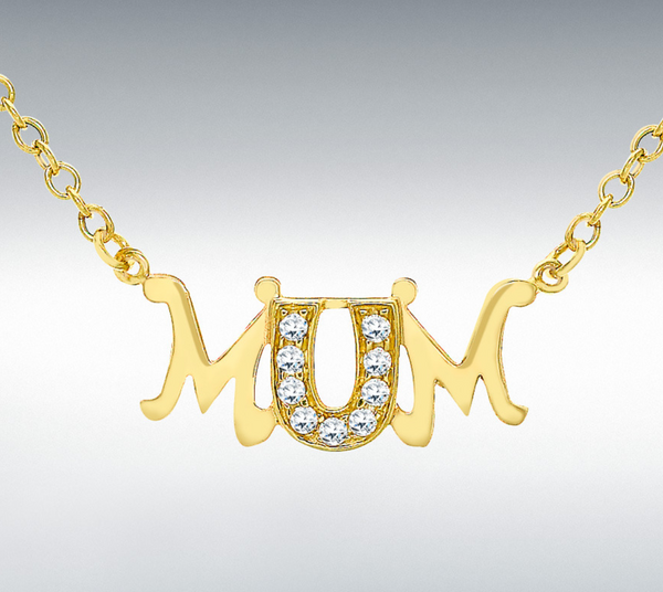 9ct Yellow Gold Cz 'mum' Belcher Chain Necklace