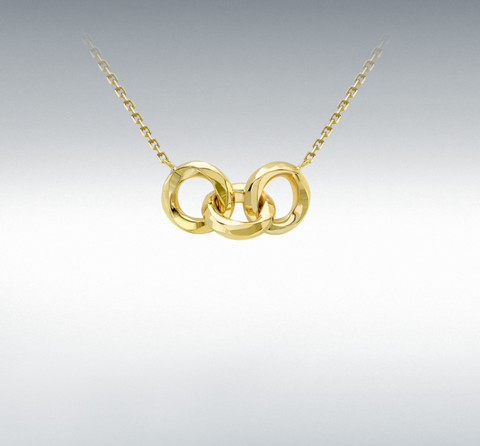 9ct Yellow Gold Diamond Cut Linked Rings Adjustable Necklace