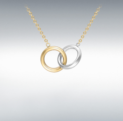 9ct 2-colour Gold Linked-rings Adjustable Necklace