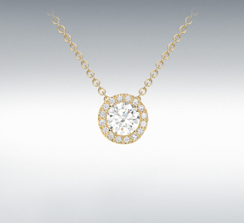 9ct yellow Gold Cz Sliding Pendant Necklace