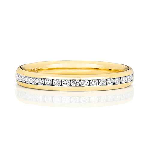 W220 9CT DIAMOND ETERNITY RING      Y/G 50% CHANNEL SET 2.7MM G-H SI3-I1