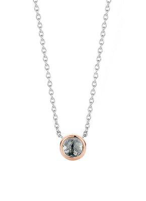 Ti Sento Silver and Rose Gold Gemstone Pendant