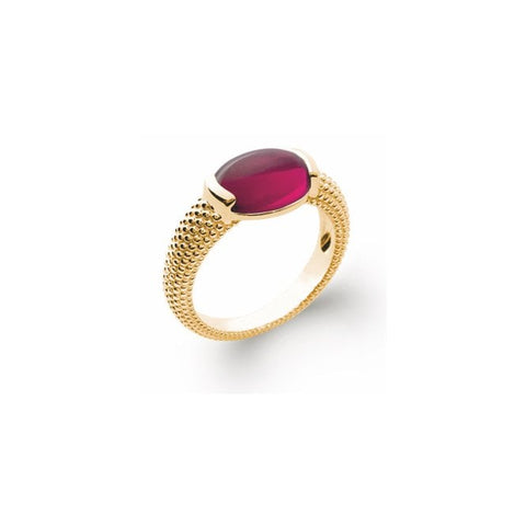 18k Plated Ruby Beaded Ring