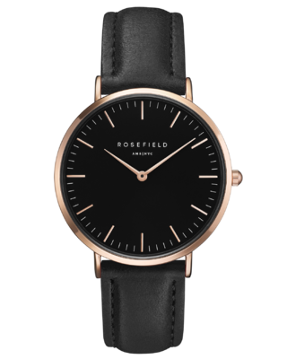 The Bowery Black Rose Gold Watch